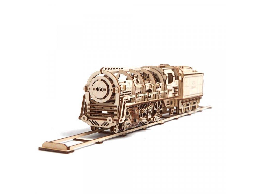 Ugears Locomotive with tender 460, Ατμομηχανή Ξύλινο Μηχανικό 3D Παζλ, 443 Κομμάτια - 70012