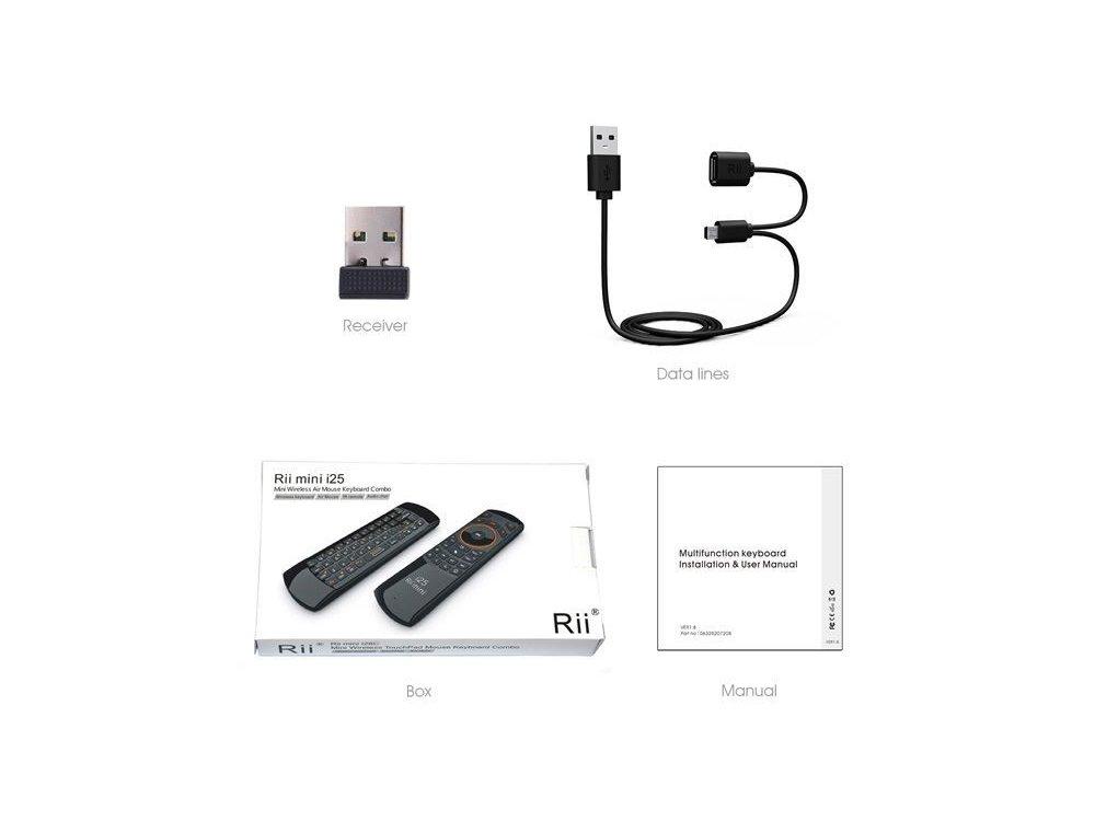 Rii i25A mini Ασύρματο πληκτρολόγιο με Air Mouse