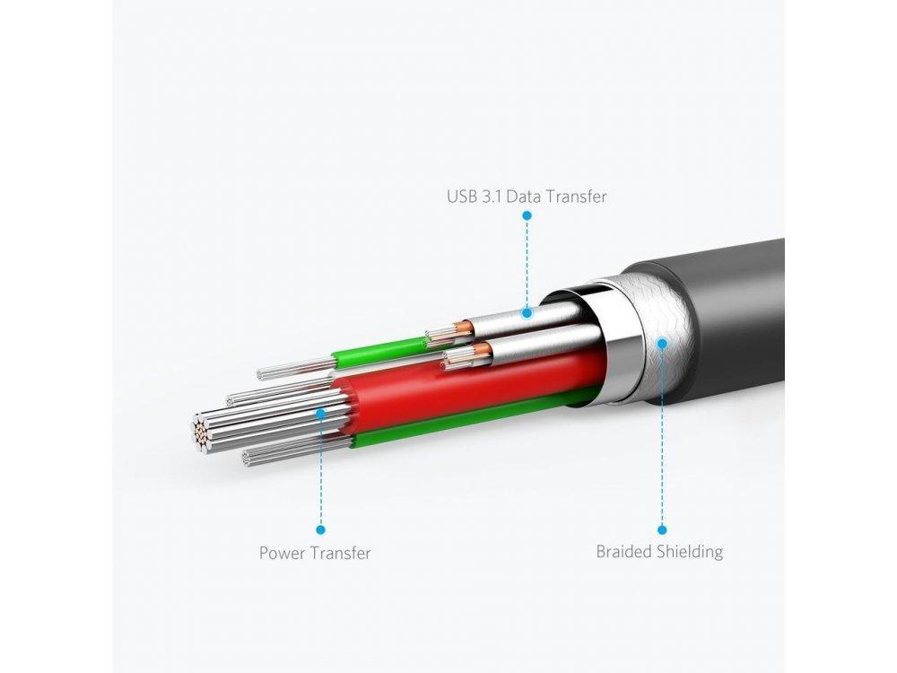 Anker Καλώδιο Powerline II USB C to USB A 3.1 Gen2 USB-IF 1μ. - A8465011, Μαύρο