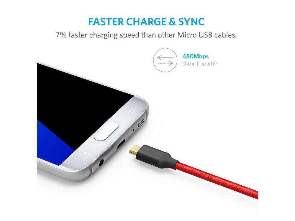 Anker Cable 2m, Micro USB to USB 2.0, Nylon braided