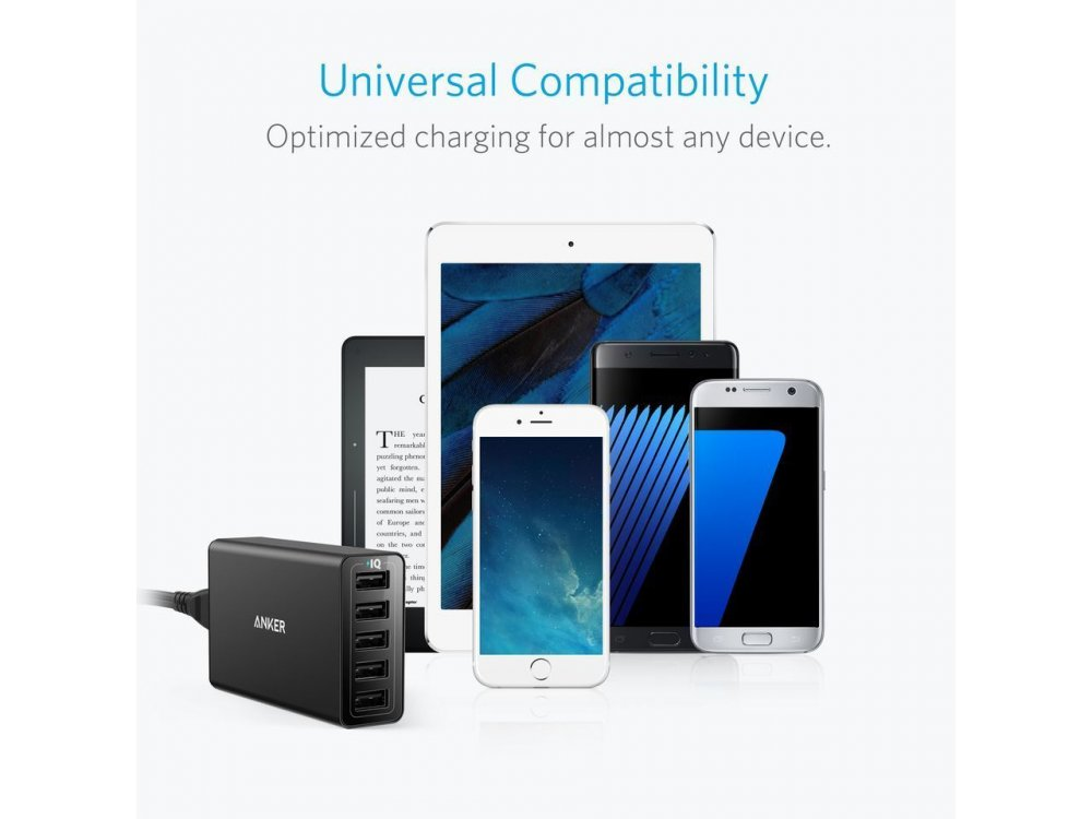 Anker PowerPort 5 40W 5-Port USB Charging Hub, with PowerIQ - A2124312