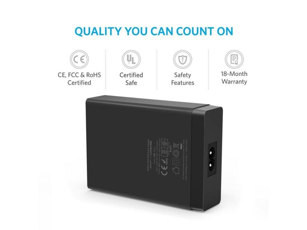 Anker PowerPort 6 60W 6-Port USB Charging Hub με Τεχνολογία PowerIQ - A2123L12