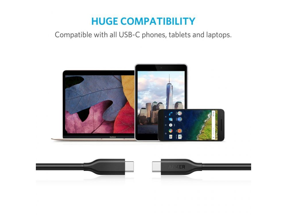 Anker Powerline 1m Cable, USB-C to USB-C 3.1 - A8183011, black