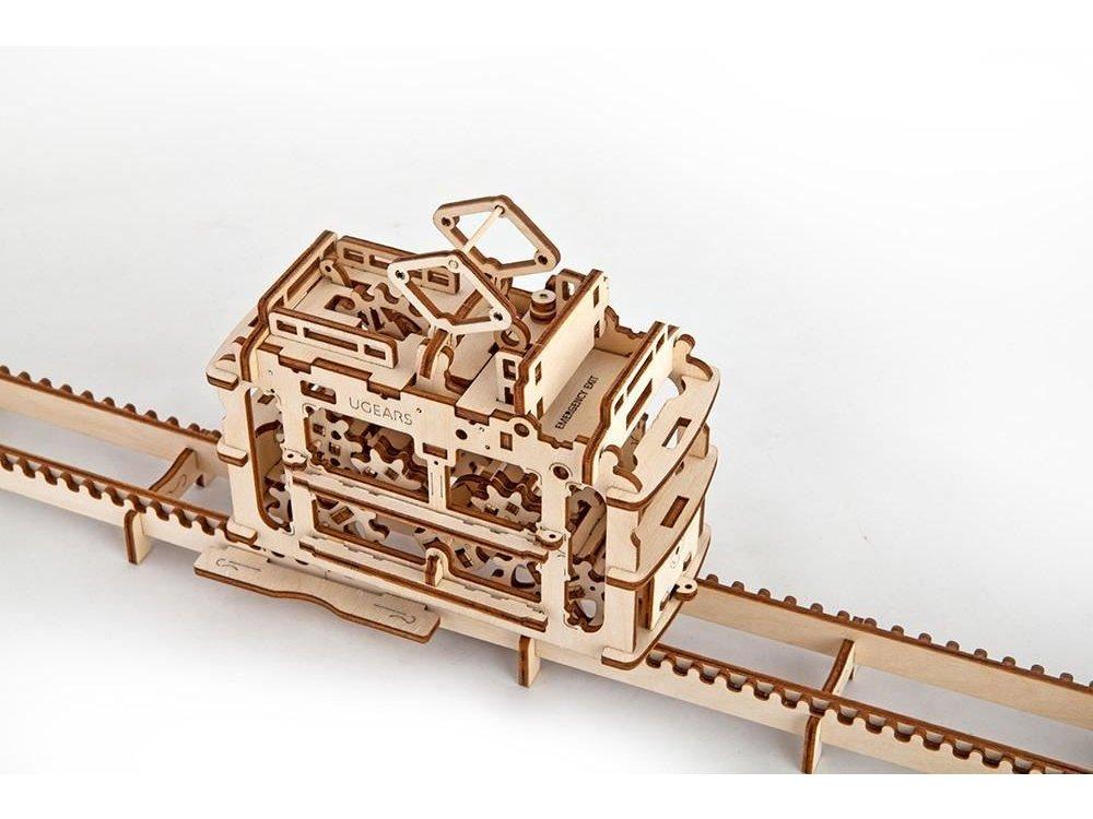 Ugears Tram with Trails Ξύλινο Μηχανικό 3D Παζλ
