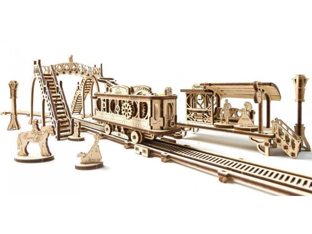 Ugears Tram Line Ξύλινο Μηχανικό 3D Παζλ