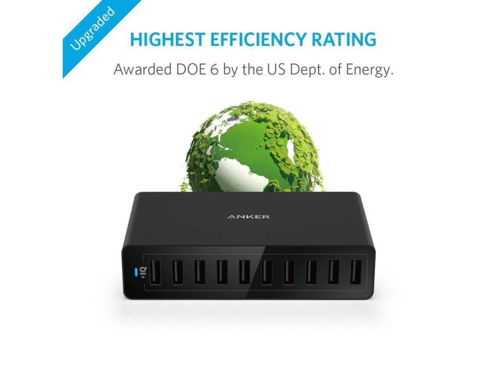 Anker PowerPort 10 Wall Charger 10 USB Port, 60W
