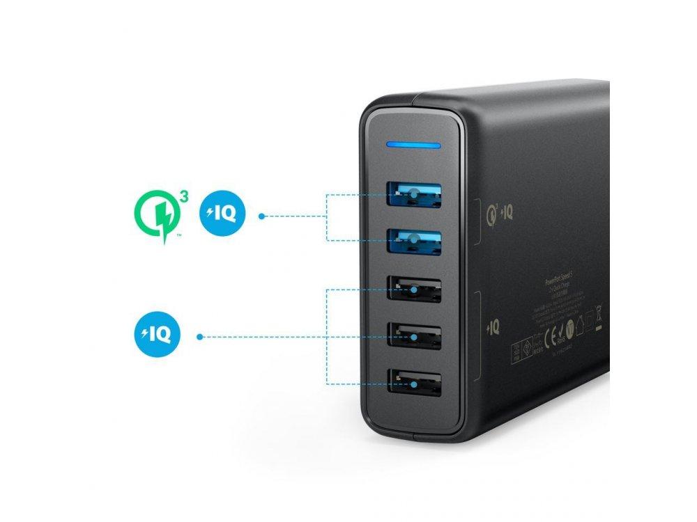 Anker PowerPort Speed 5 - 63W 5-Port USB Charging Hub με 2 QC3 Θύρες - A2054L11