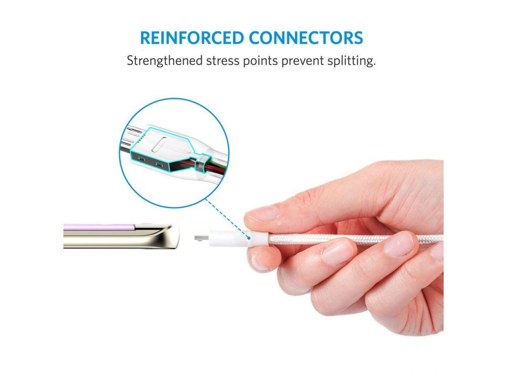 Anker PowerLine+ 2μ. Καλώδιο Micro USB σε USB 2.0 με Νάυλον ύφανση - A8143H21, Λευκό