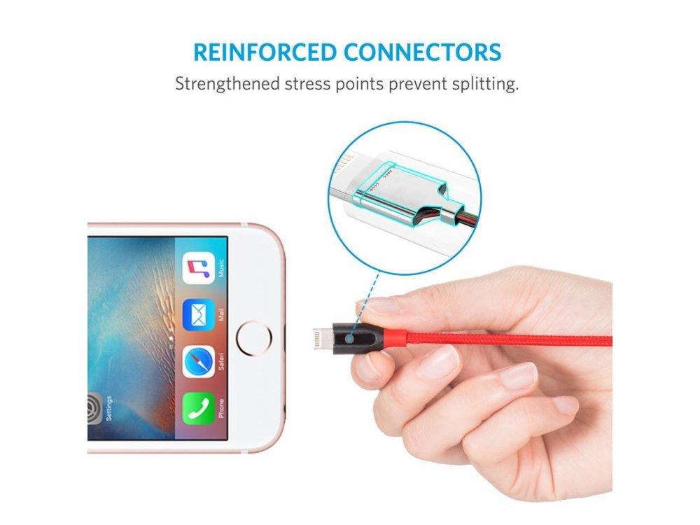 Anker PowerLine+ 2μ. Lightning καλώδιο για Apple iPhone / iPad / iPod MFi, με Νάυλον Ύφανση - A8122H91, Κόκκινο