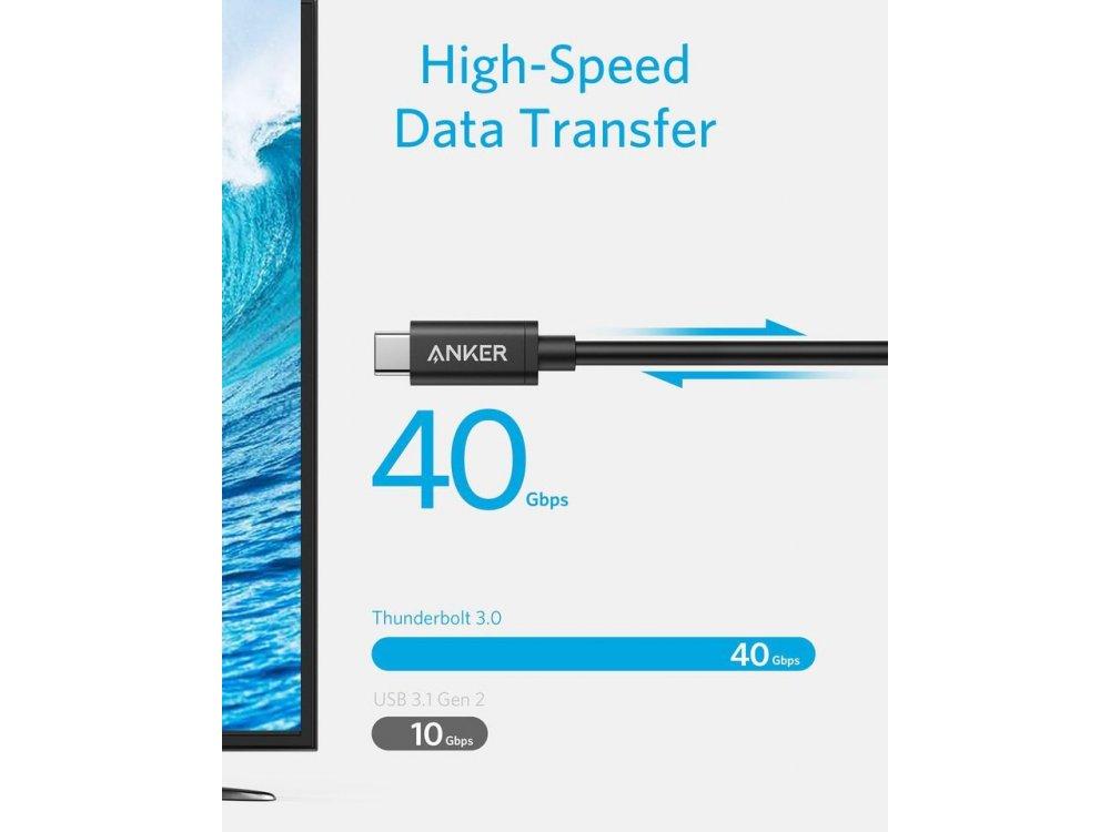 Anker PowerLine Καλώδιο USB-C σε USB-C Thunderbolt 3.1, 0.5μ. - Α8486011, Γκρι
