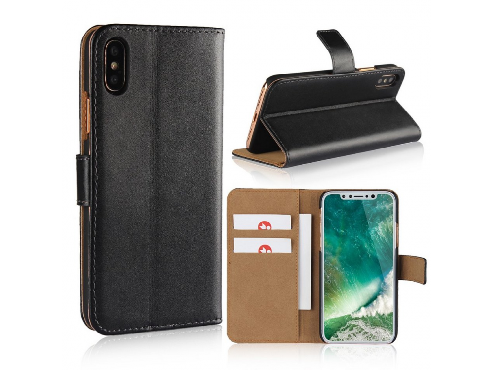 iPhone X wallet case, genuine leather, kickstand with card cases