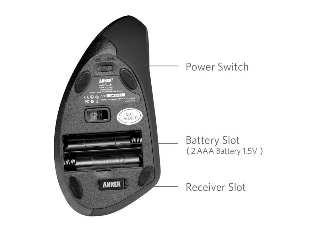 Anker Wireless Vertical Ergonomic Mouse, 800 / 1200 / 1600DPI, 5 Πλήκτρων - A7852011, Μαύρο