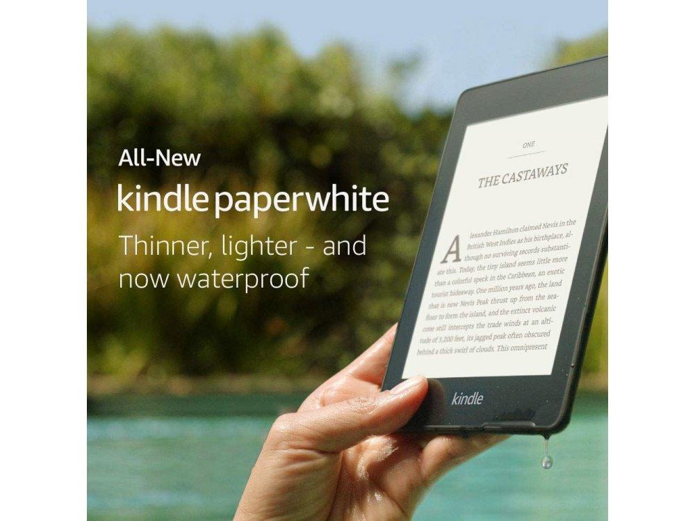 "Amazon All-New Kindle Paperwhite 2018, 6"" HD Display (300 ppi), Built-in Light, Αδιάβροχο, 8GB, Μαύρο (Χωρίς Διαφημίσεις)"