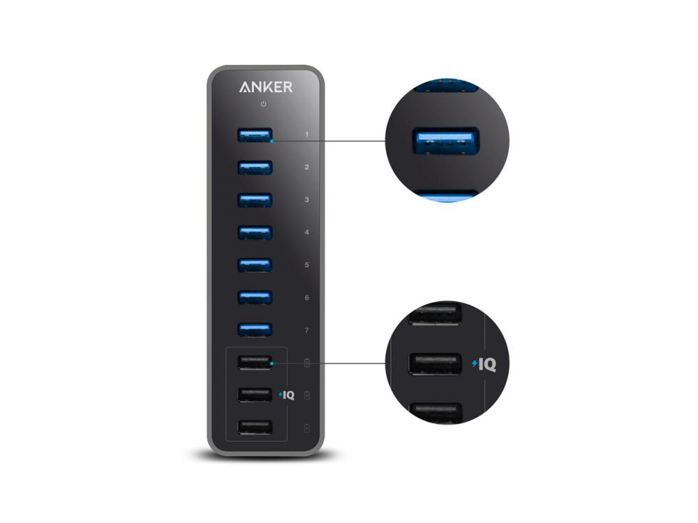 Anker 10-Port (USB3.0*7+Power IQ*3) 60W Data Hub, Α7515311