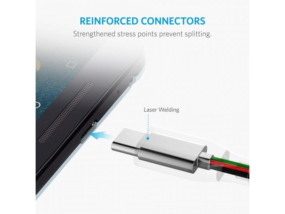 Anker Powerline+ Καλώδιο USB-C σε USB 3.0 2μ. με Νάυλον ύφανση - A81690A1, Μαύρο