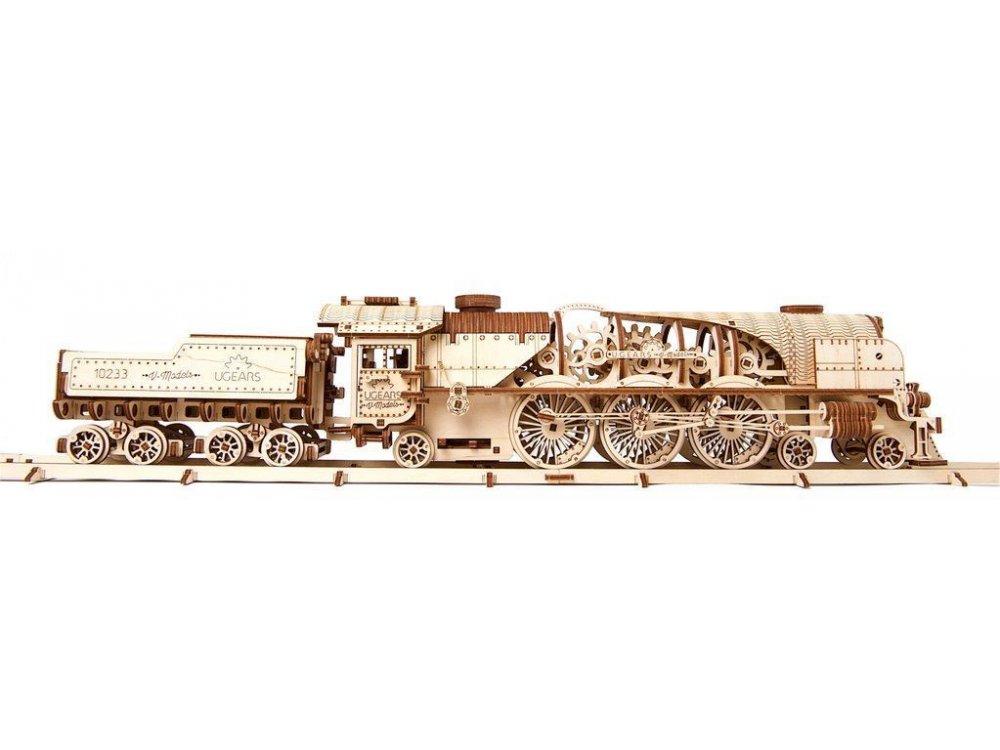 Ugears V-Express Steam Train Ξύλινο Μηχανικό 3D Παζλ