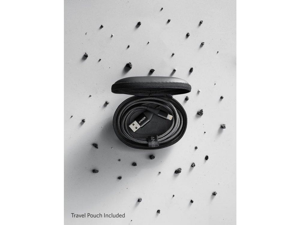 Anker PowerLine+ ΙΙ 1μ. Lightning καλώδιο για Apple iPhone / iPad / iPod MFi, Νάυλον ύφανση - A8452011, Μαύρο