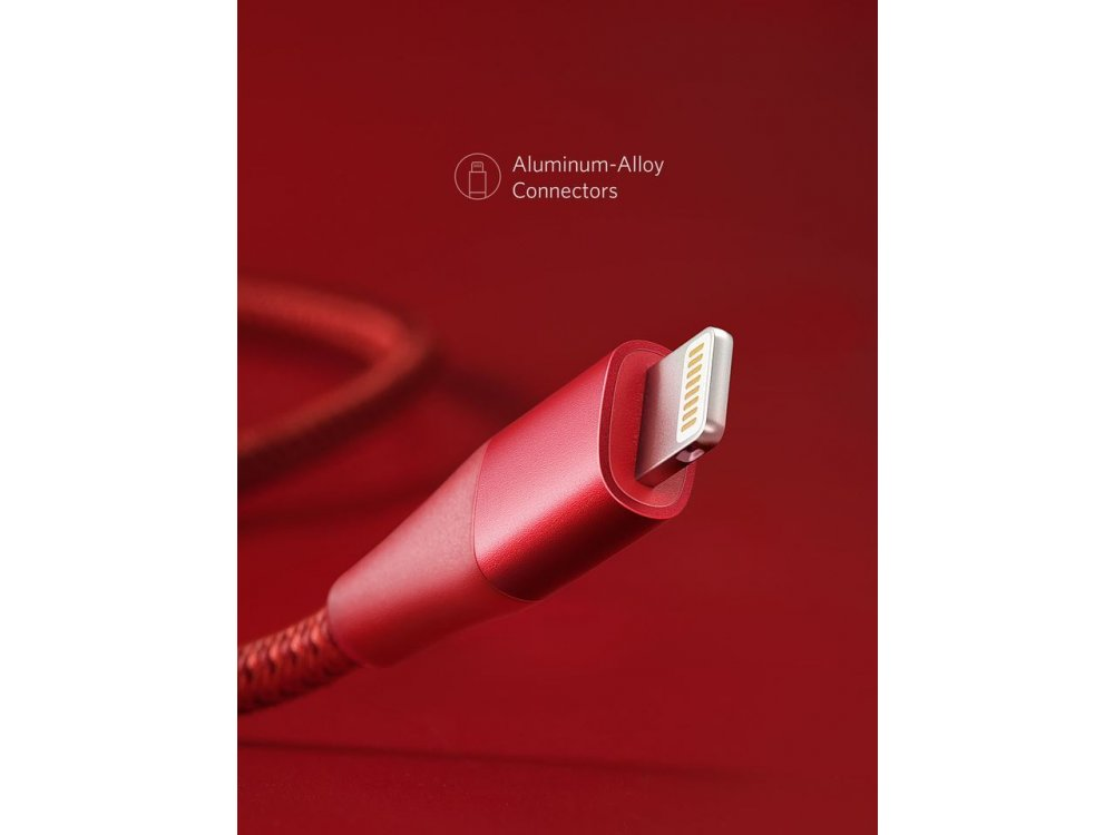 Anker PowerLine+ ΙΙ 0.9μ. Lightning καλώδιο για Apple iPhone / iPad / iPod MFi, Νάυλον ύφανση - A8452091, Κόκκινο