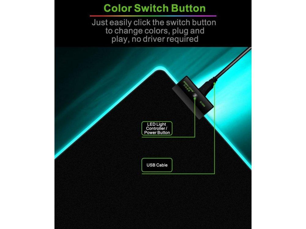 CoolCold D1000 XXL Gaming Mouse Pad (80x30cm) με RGB LED, Μαύρο