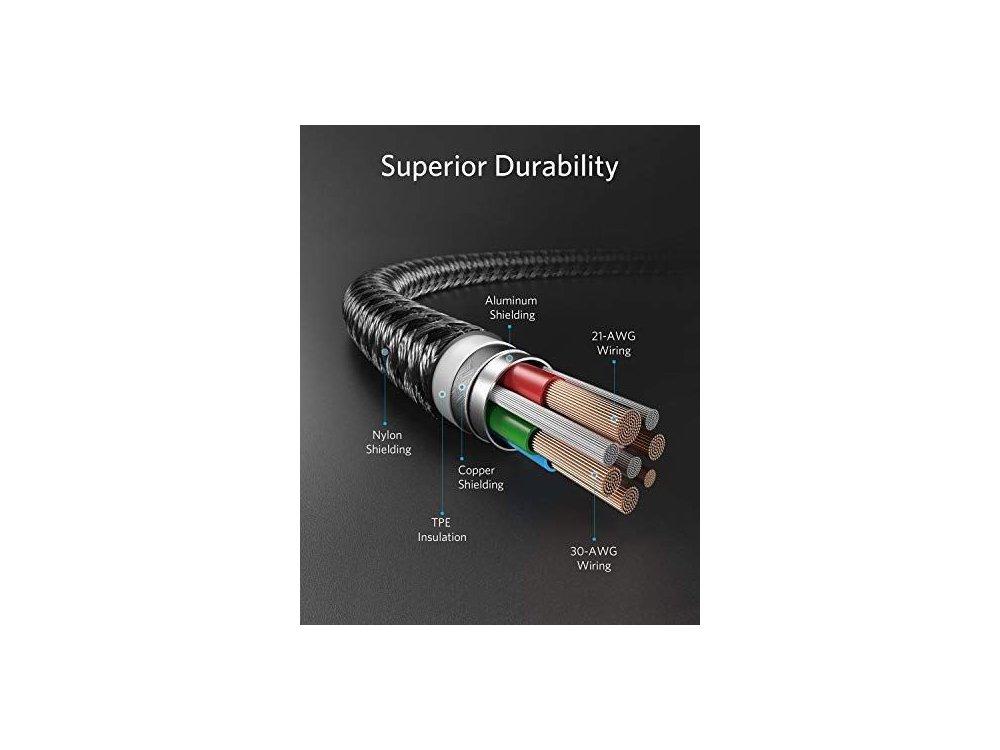 Anker PowerLine+ ΙΙ USB-C σε Lightning καλώδιο 0.9μ. για Apple iPhone / iPad / iPod MFi, με Νάυλον ύφανση - A8652011, Μαύρο