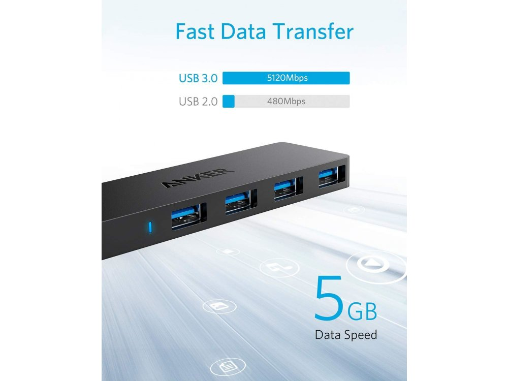 Anker Ultra Slim USB 3.0 4 Port Data Hub, with 2ft cable - A7516012