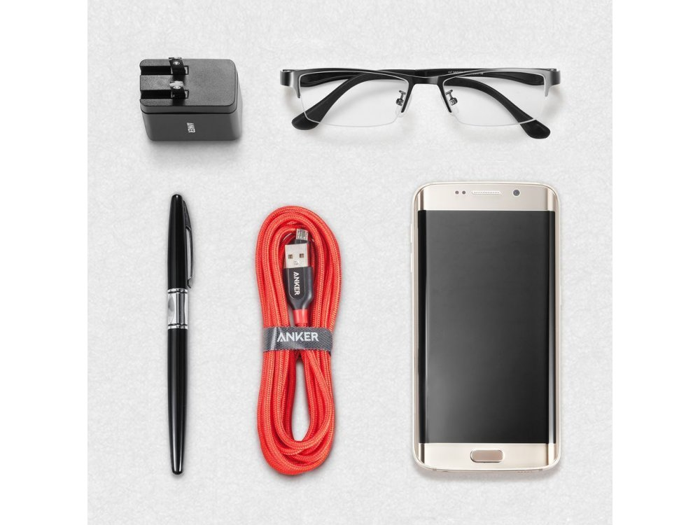 Anker Powerline+ Micro USB 10ft, Nylon braided, Red - A8144091