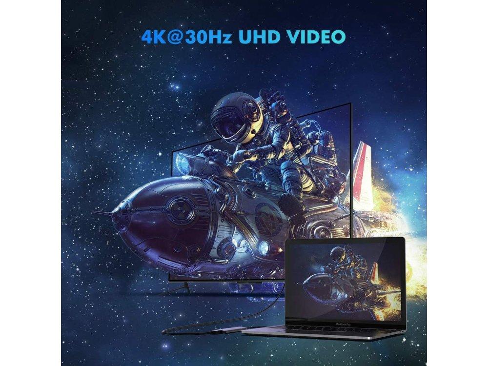 Ugreen 5-1 Aluminum 5-In-1 USB C OTG Hub 100W with 4K HDMI + 3*USB3.0 Θύρες - 50209