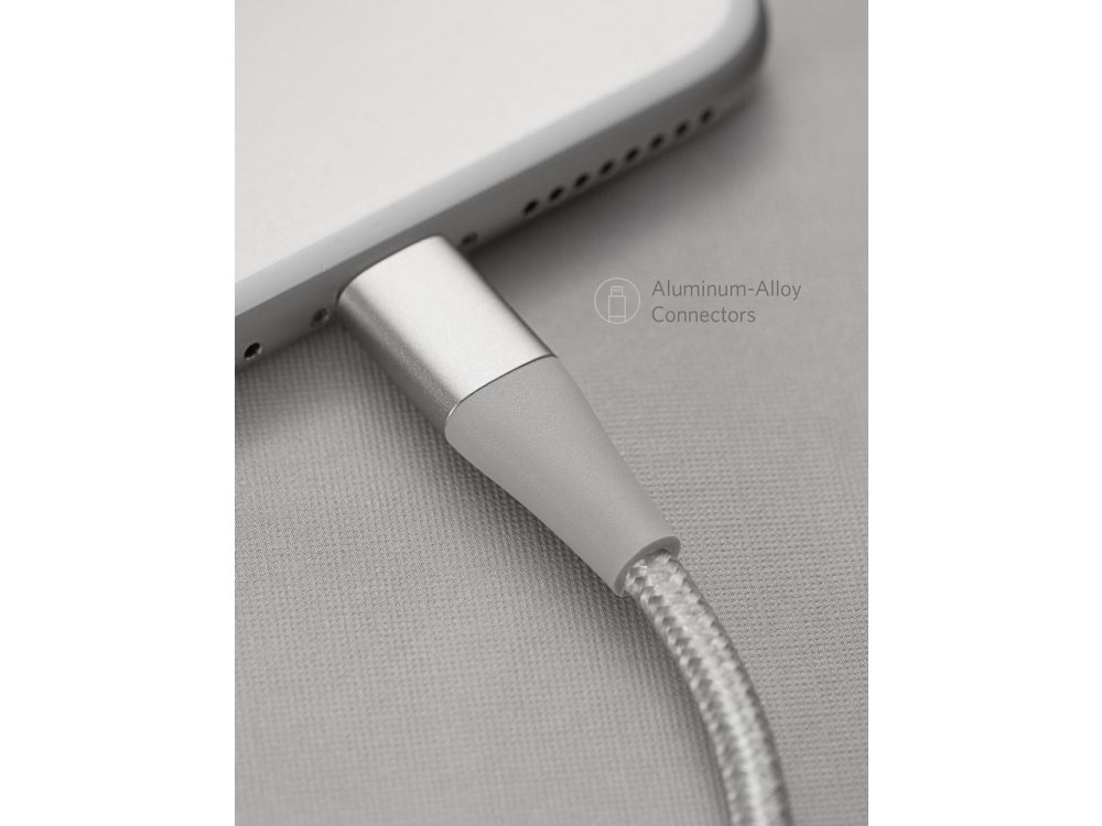 Anker PowerLine+ II 10ft. Lightning cable for Apple, Nylon braided A8454041, Silver