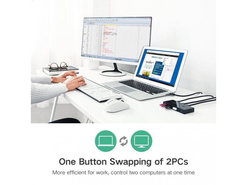 Ugreen USB 3.0 Switch, 2 in - 4 Out Για διαμοιρασμό 2 συσκευών USB (Mouse, Keyboard, Scanner, Printer) - 30768