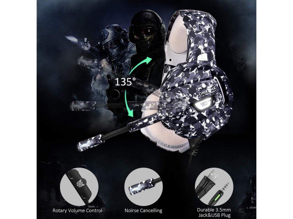 Onikuma K5 Camouflage LED Gaming Headset 7.1 (PC / PS4 / Xbox / Switch / Mac / iOS)