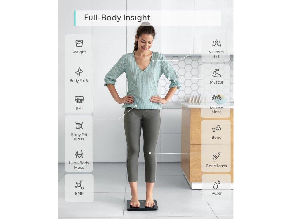 Anker Eufy C1, Smart Scale, Body FAt, BMI via Fitness APP and Bluetooth, Black - T9146011