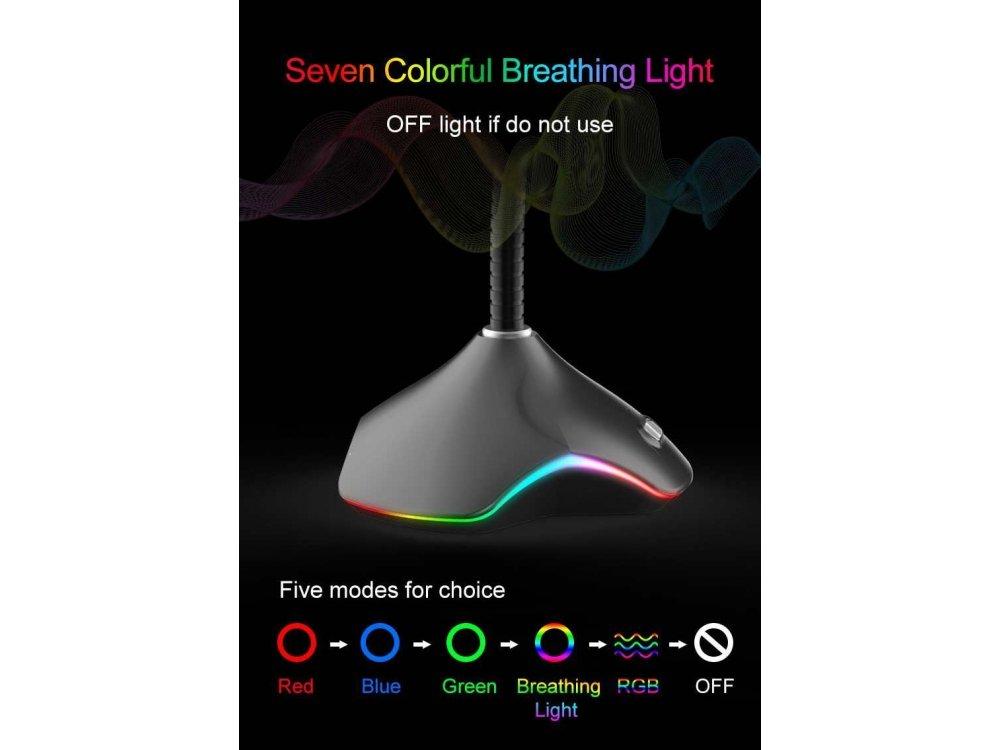 Coolcold CK-RGB Μικρόφωνο PC με USB και φωτισμό 7 Color, Μαύρο