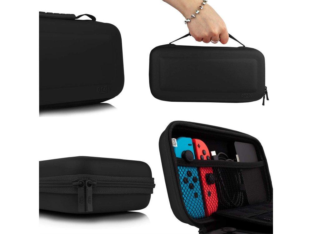 Orzly Nintendo Switch θήκη μεταφοράς για συσκευή και παρελκόμενα, Μαύρη