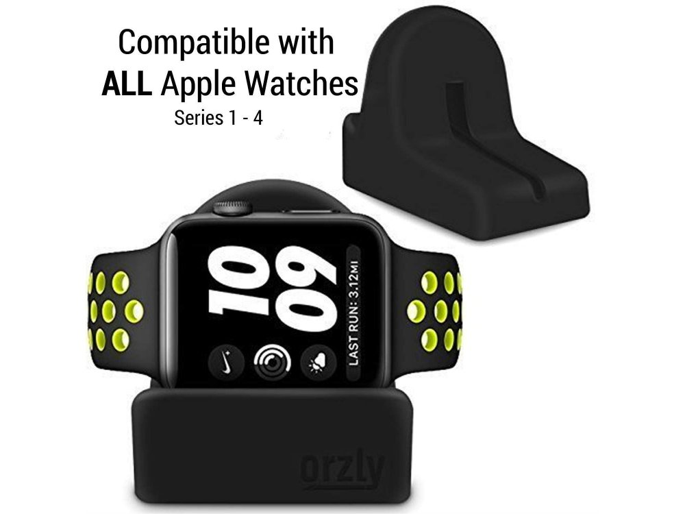 Orzly Compact Stand for Apple Watch (Charger, Night Stand Mode Compatible, Integrated Cable Management Slot), Black