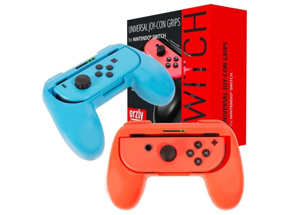 Orzly Joy-Con Controller Grips for Nintendo Switch, Set of 2, Red/ Blue
