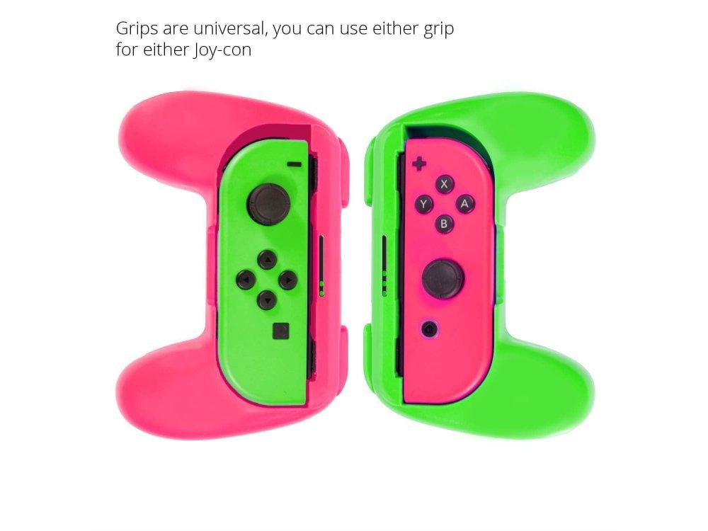 Orzly Joy-Con Controller Grips για Nintendo Switch, Σετ των 2, Πράσινο / Ροζ