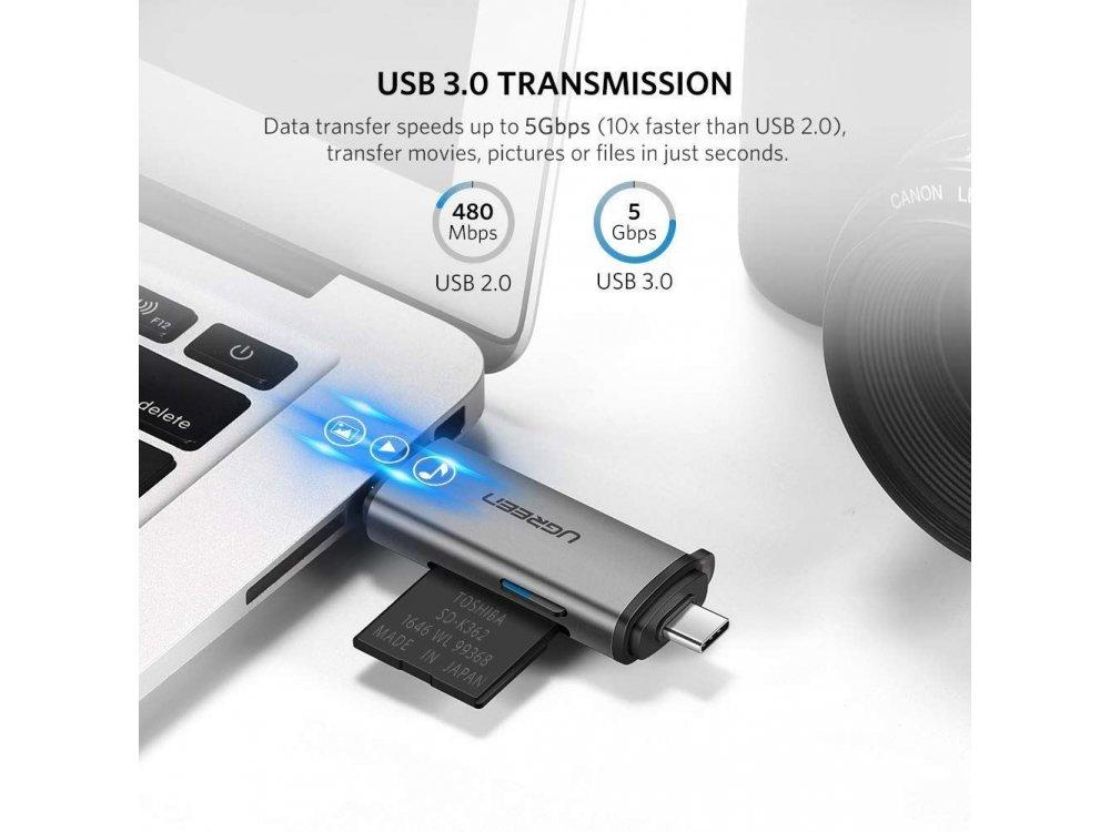 Ugreen USB-C Card Reader 4-in-1, SD/Micro SD Type-C/USB 3.0 Plugs - 50706