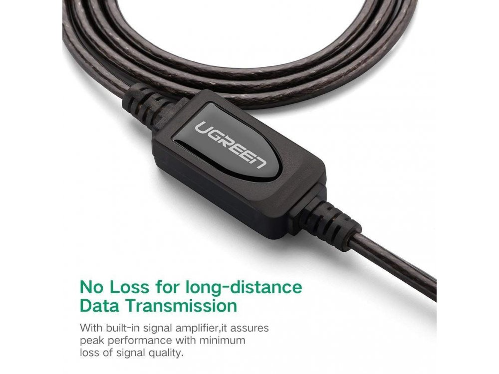 Ugreen USB 2.0 Active Repeater Cable 15μ. Καλώδιο Επέκτασης με Signal Amplifier, USB-A Extender - 10323