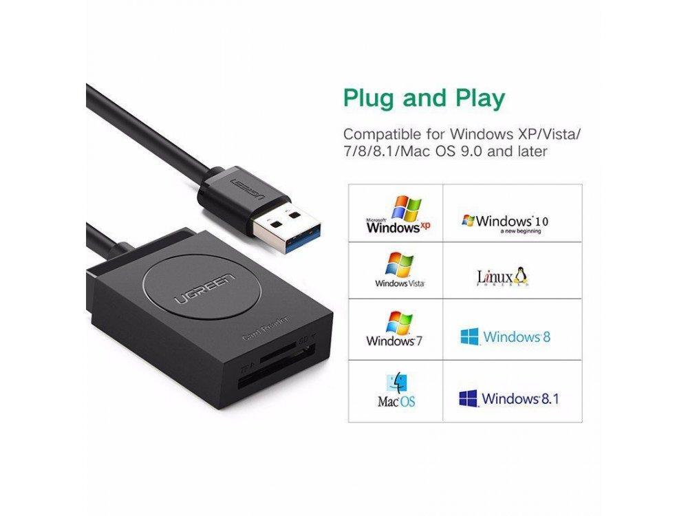 Ugreen 2-σε-1 Card Reader USB3.0 SD & Micro SD Ταυτόχρονης ανάγνωσης - 20250