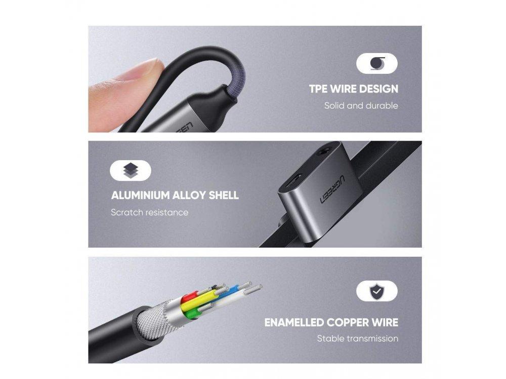 Ugreen Type-C to 3.5mm + Type-C Charging Hub Adapter - 50596