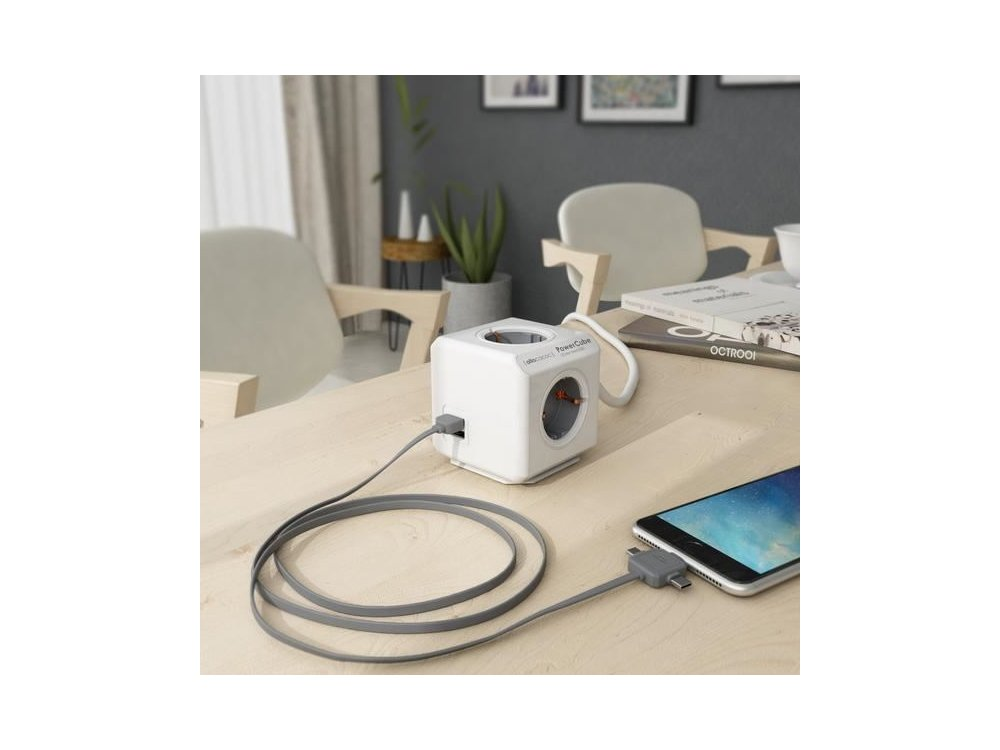 Allocacoc PowerCube Extended 4 Sockets  and 2 USB Ports 1.5m - Grey - 1406GY/DEEUPC