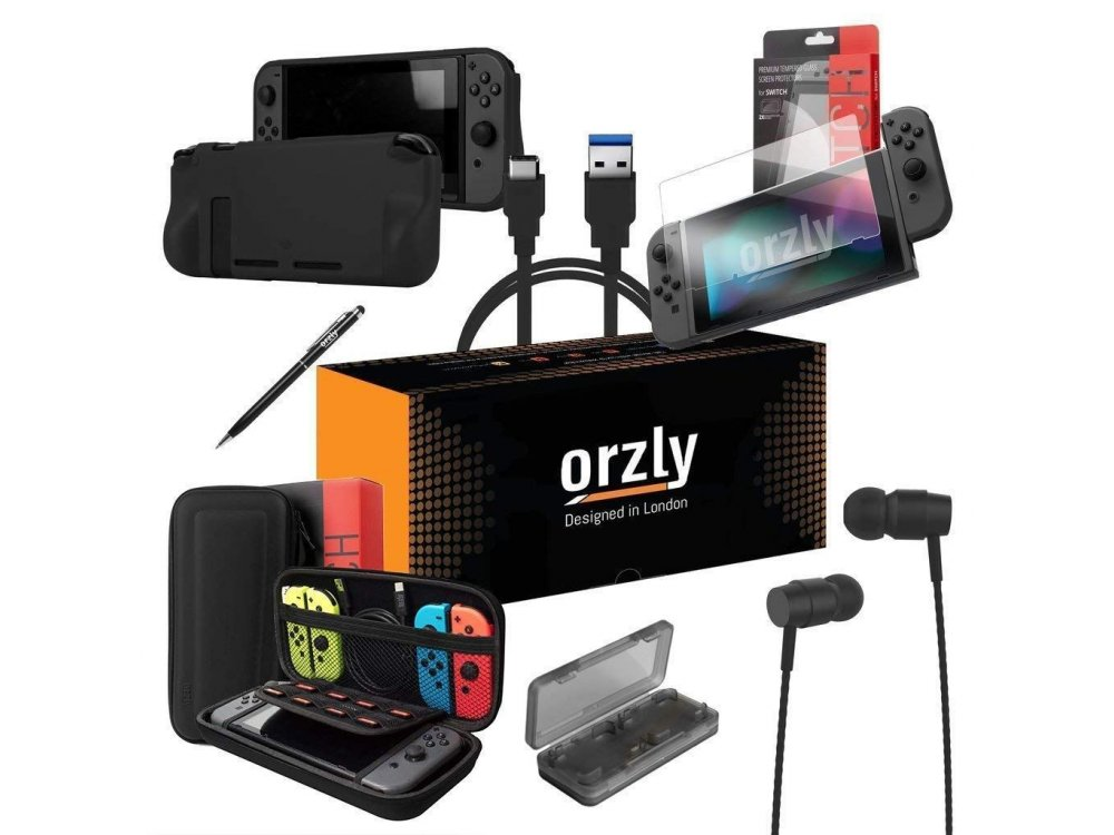 Orzly Nintendo Switch Accessories Bundle - 2x Glass Screen Protector, USB charging cable, Concole Pouch, Comfort Grip Case, Headphones  - Black