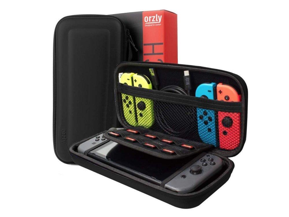 Orzly Nintendo Switch Accessories Bundle - 2x Glass Screen Protector, καλώδιο USB, Carry Case, Θήκη Card Games, Grip, Μαύρο