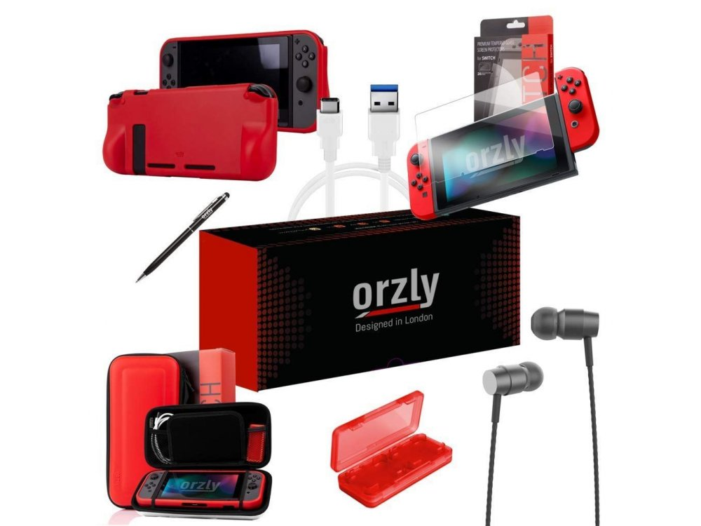 Orzly Nintendo Switch Accessories Bundle - 2x Glass Screen Protector, USB charging cable, Concole Pouch, Comfort Grip Case, Headphones  - Pokemon Themed