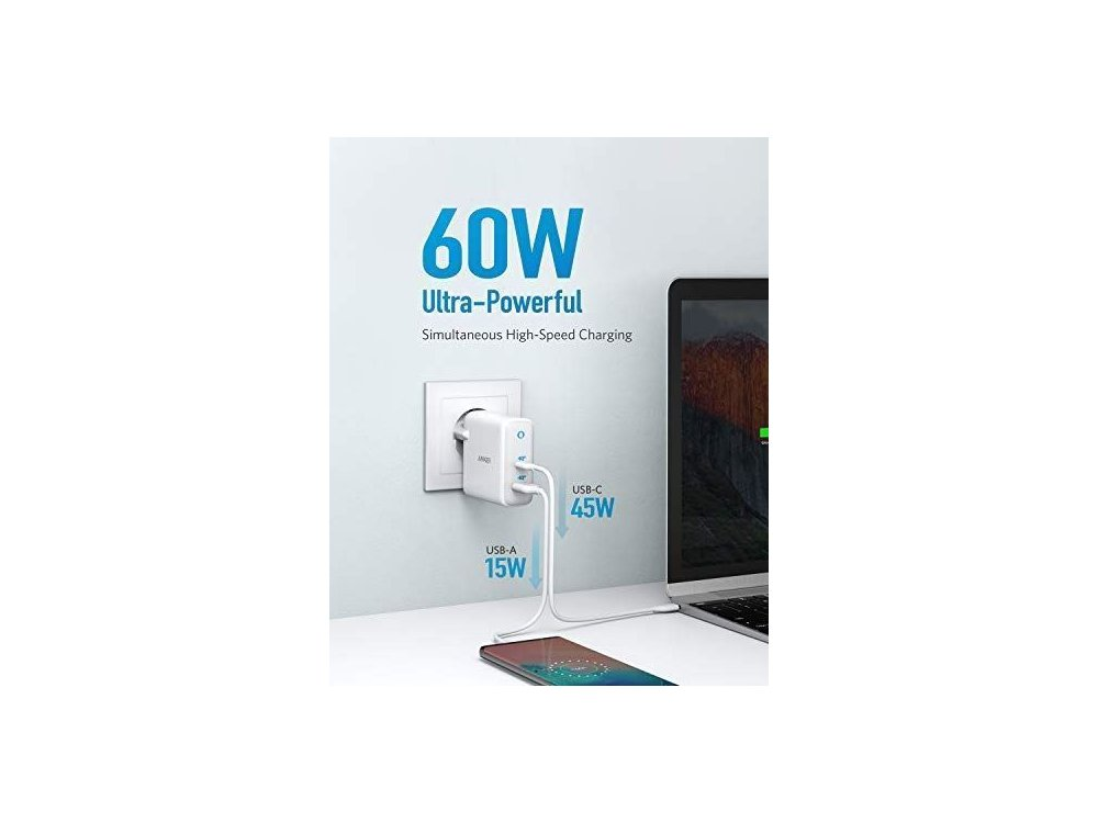 Anker PowerPort+ Atom III PD 2 port wall charger 60W with Power Delivery and GaN - A2322321
