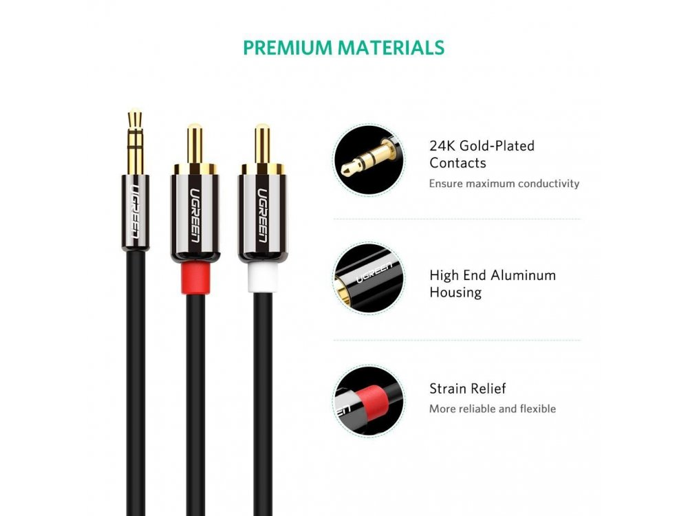 Ugreen 3.5mm Male to 2RCA Male 1μ. Καλώδιο Auxiliary Stereo Y Splitter Audio Cable - 10749