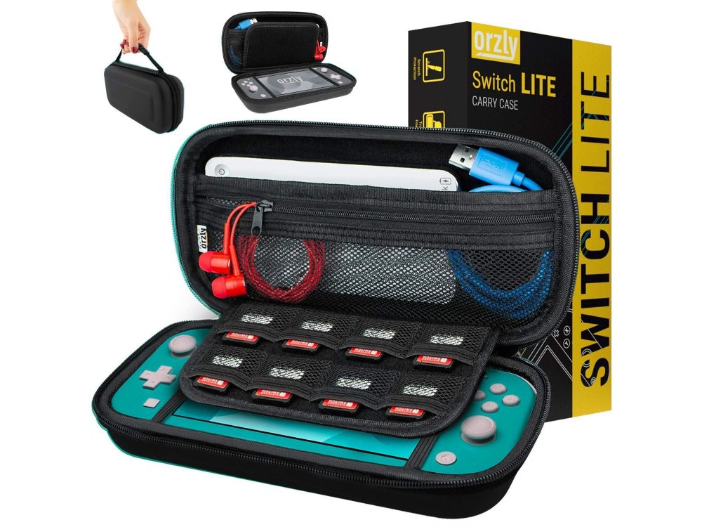 Orzly Nintendo Switch Lite carrying case for device and accessories, black