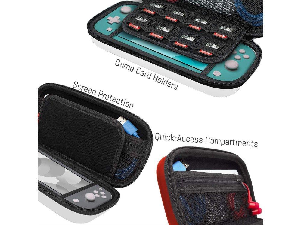 Orzly Nintendo Switch Lite θήκη μεταφοράς για συσκευή και παρελκόμενα, Pokemon Themed