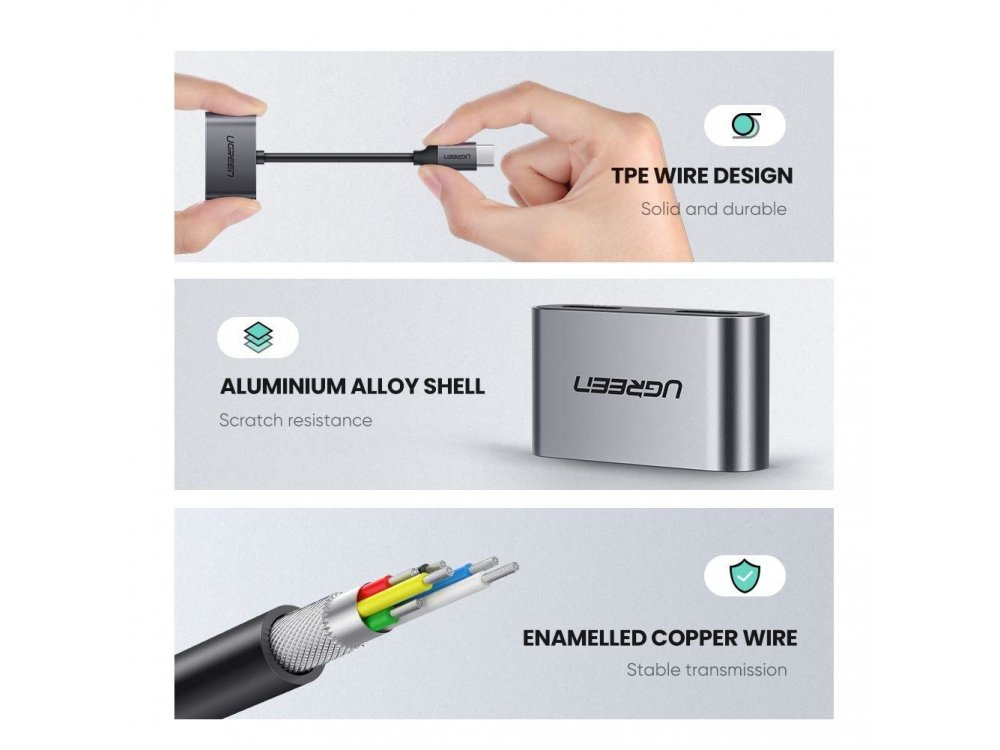 Ugreen Type-C to Type-C * 2 Audio + PD Charging Hub Adapter - 60165