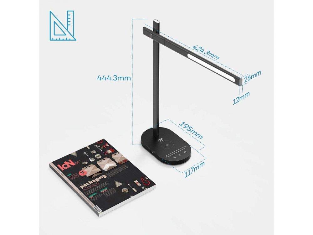 TaoTronics TT-DL031 LED Desk Λάμπα με Ασύρματο φορτιστή & USB Θύρα, Μαύρη